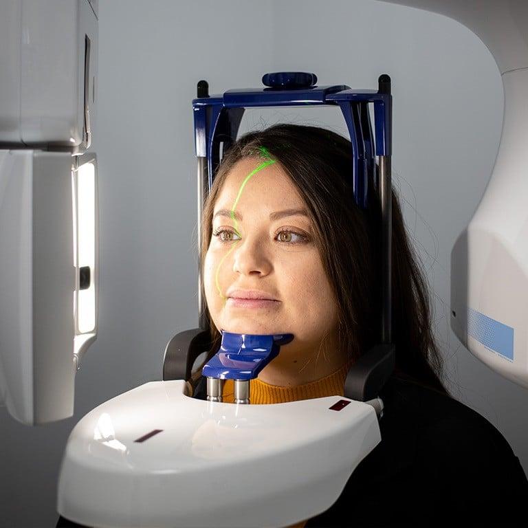 Lady receiving dental scan